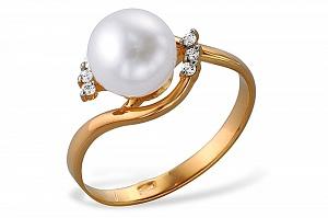 Кольцо из красного золота 585 пробы с белой жемчужиной 6,5-7,5 мм