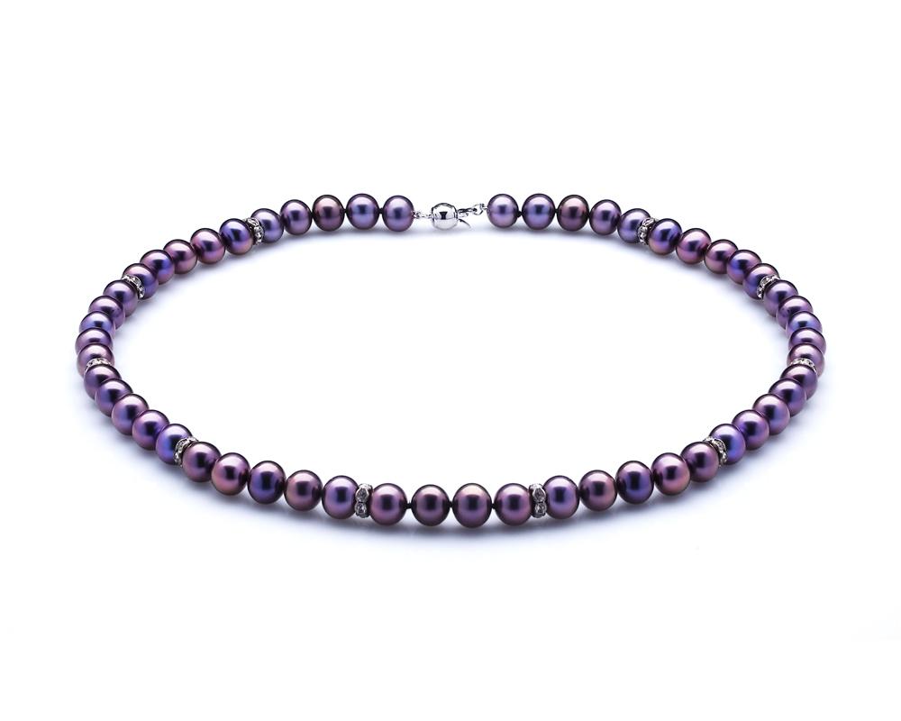 Ожерелье из черного круглого речного жемчуга со стразами. Жемчужины 7,5-8 мм