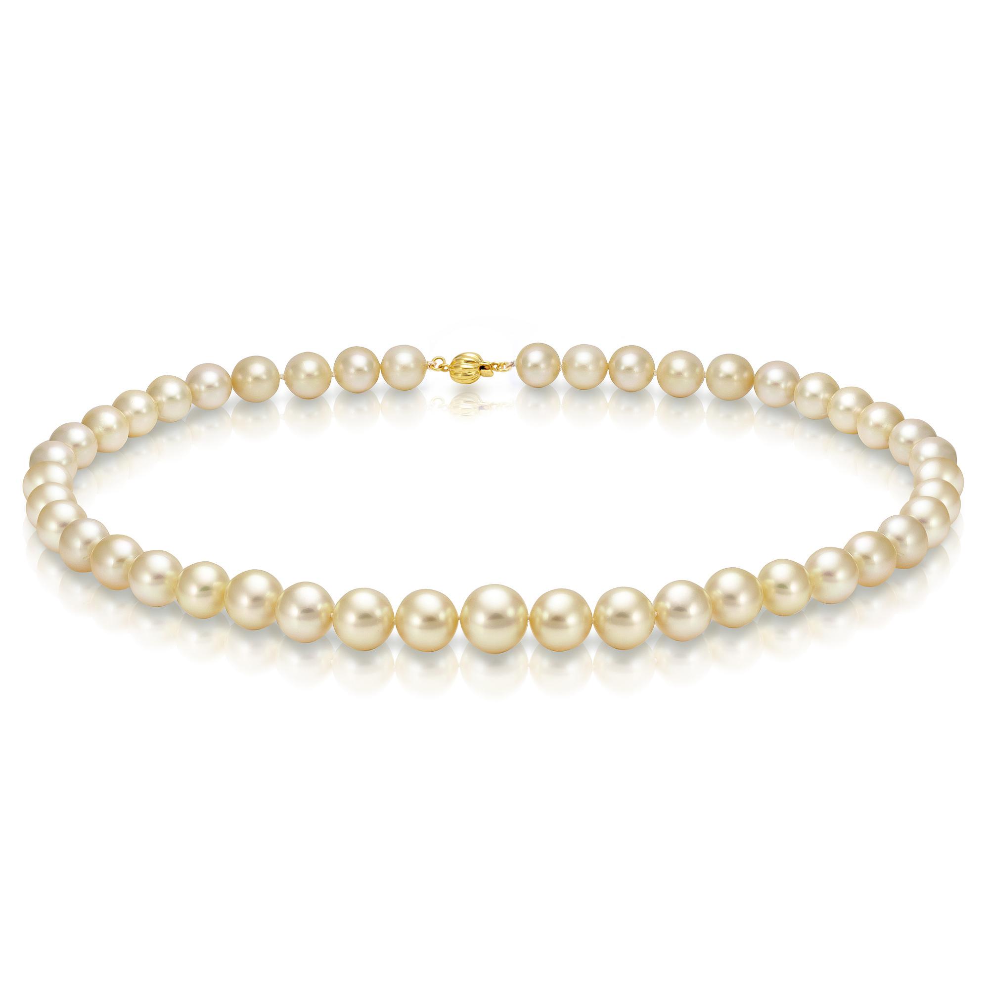 Ожерелье из золотого морского Австралийского жемчуга 8-10,8 мм