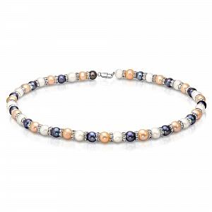 "Ожерелье ""микс"" из круглого жемчуга со стразами. Жемчужины 9-10 мм"