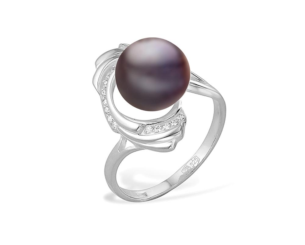 Кольцо из серебра с черной речной жемчужиной 8,5-9,5 мм