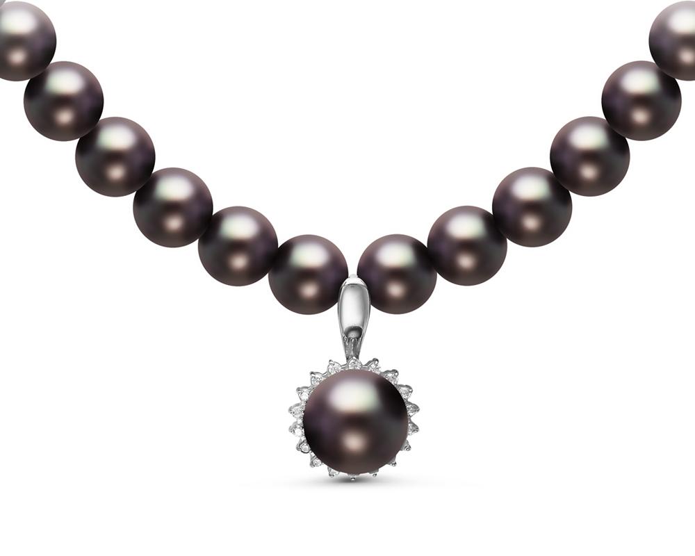 Ожерелье из черного речного круглого жемчуга с кулоном из серебра
