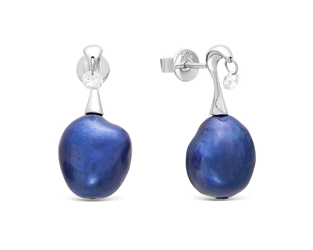 Серьги из серебра с синими барочными жемчужинами 11-12 мм