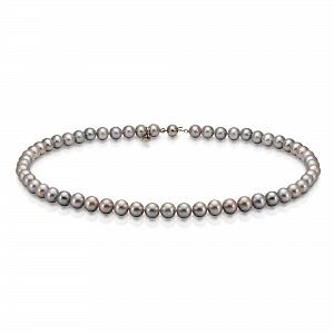 Ожерелье из серого круглого речного жемчуга. Жемчужины 6,5-7 мм