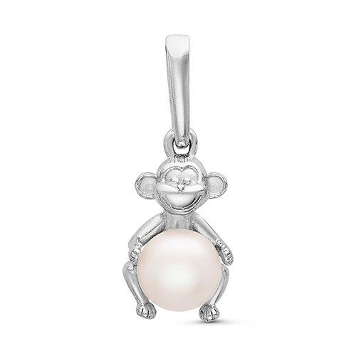Кулон из серебра с белой речной жемчужиной. Жемчужина 6-6,5 мм