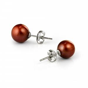 Пусеты на серебре с шоколадной круглой жемчужиной 8,5-9 мм