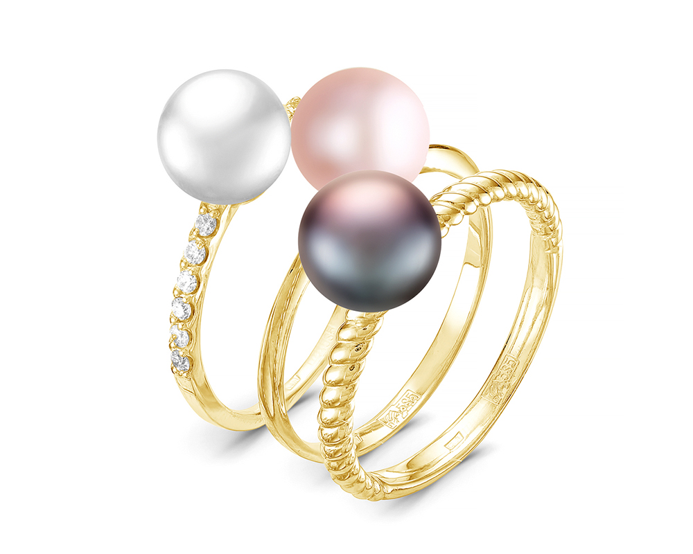 """Кольцо """"Трио"""" из серебра с речными жемчужинами """"микс""""  7-7,5 мм"""