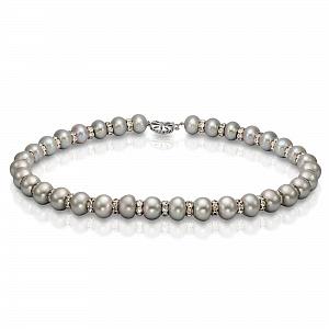 Ожерелье из серебристого барочного жемчуга со стразами. Жемчужины 12-14 мм
