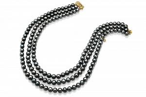 Ожерелье 3-рядное из черного речного круглого жемчуга. Жемчужины 7,5-8 мм