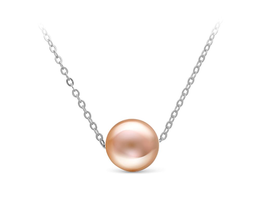 Цепочка из белого золота с розовой морской жемчужиной 9,5-10 мм. Длина 40 см