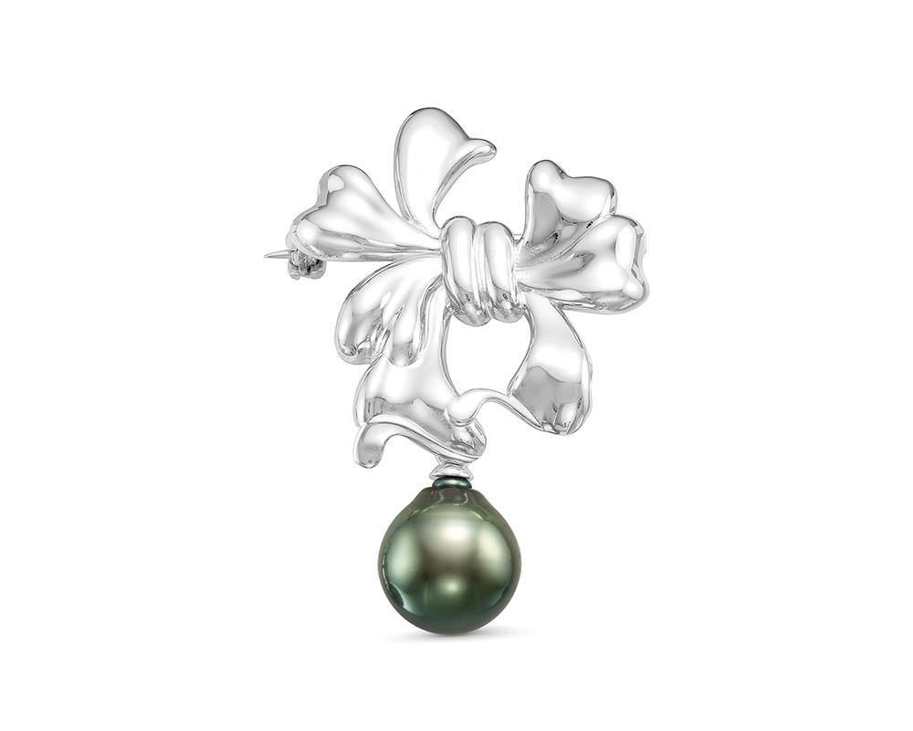 Брошь из серебра с черной Таитянской жемчужиной 11-11,5 мм