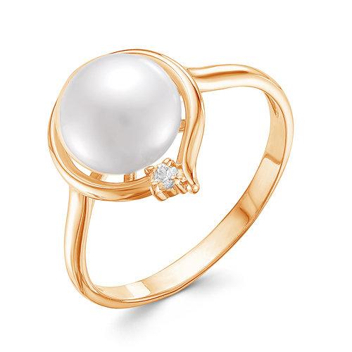 Кольцо из красного золота с белой речной жемчужиной 9,5-10 мм