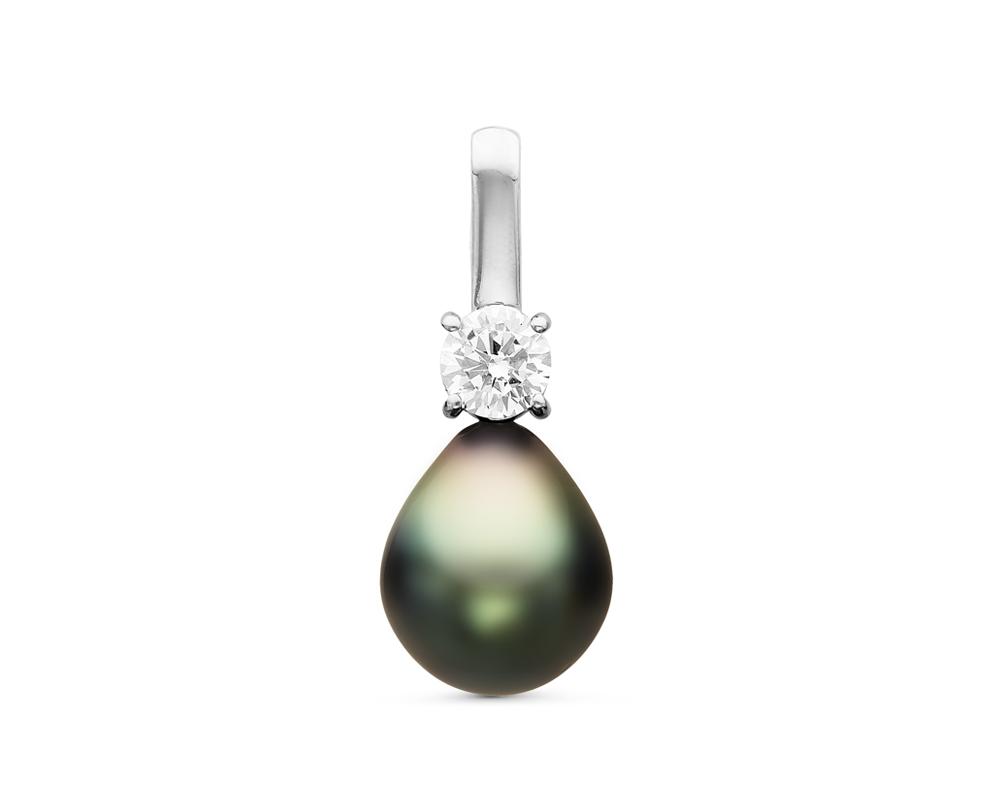 Кулон из серебра с морской черной Таитянской жемчужиной 10-10,5 мм