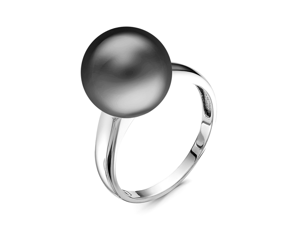Кольцо из белого золота с черной морской Таитянской жемчужиной 13,6-13,9 мм