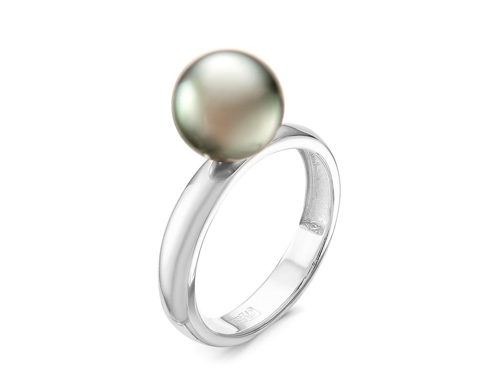 Кольцо из серебра с черной морской Таитянской жемчужиной 10-10,5 мм