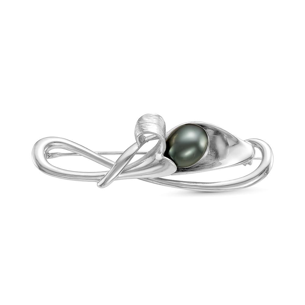 Брошь из серебра с черной Таитянской жемчужиной 12 мм