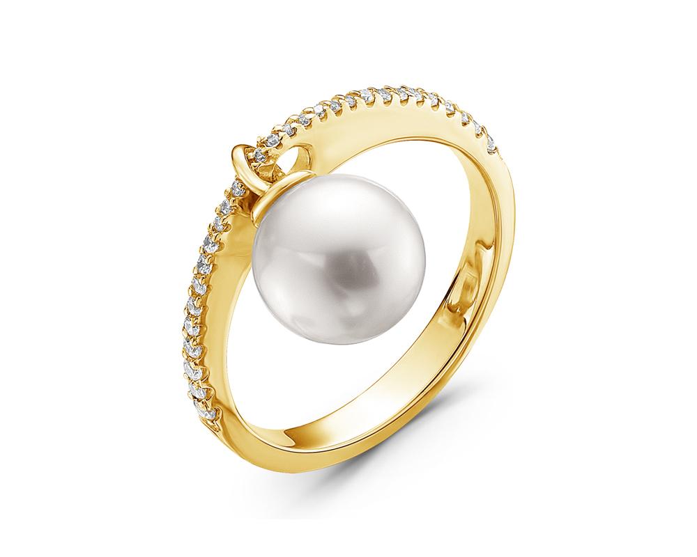Кольцо из золота с морской жемчужиной Акойя 8-8,5 мм