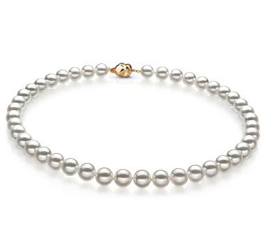 Ожерелье из белого круглого морского Австралийского жемчуга 10-12,6 мм