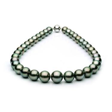 Ожерелье из черного круглого морского Таитянского жемчуга 11,2-14,2 мм