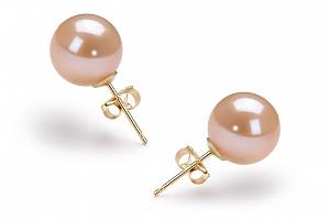 Пусеты на серебре с персиковой круглой жемчужиной 10-10,5 мм