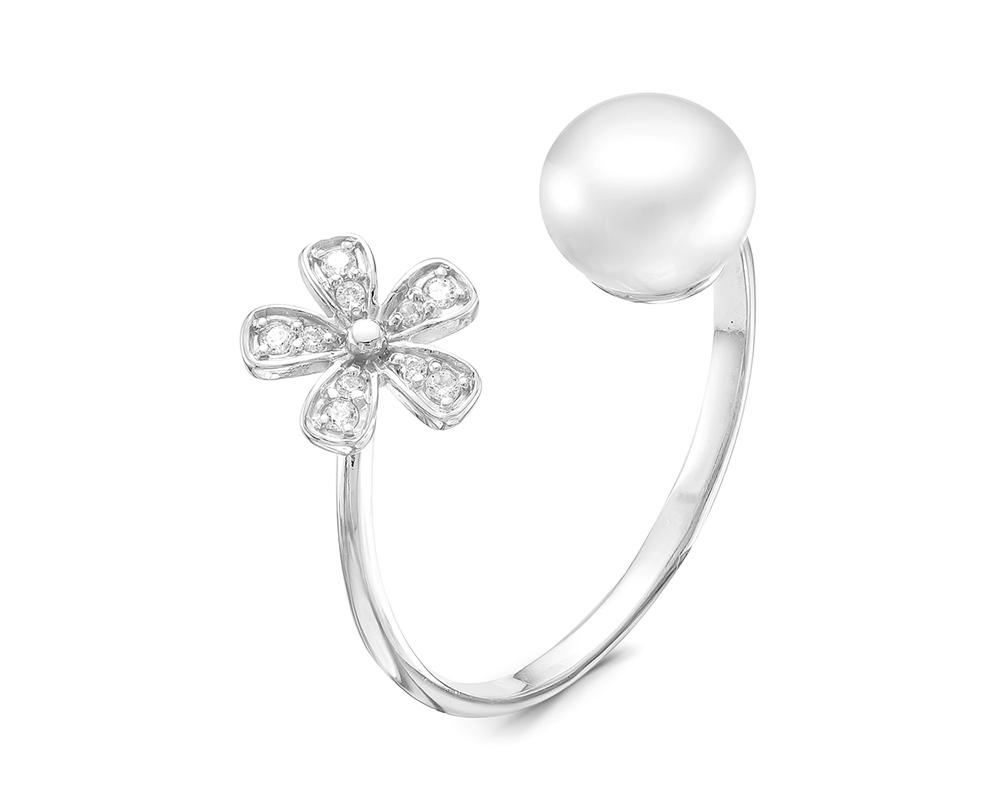 """Кольцо """"Диор"""" из серебра с белой речной жемчужиной. Жемчужина 7,5-8 мм"""