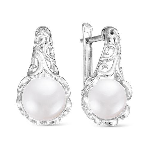 Серьги из серебра c белыми речными жемчужинами 8-8,5 мм