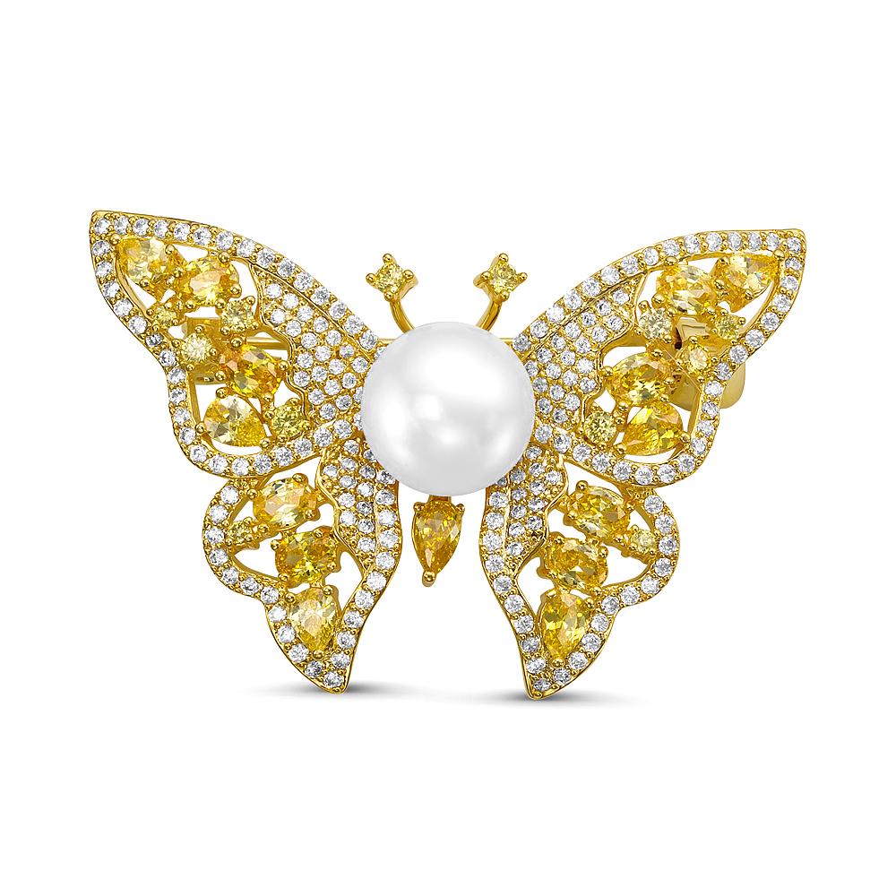 """Брошь """"Бабочка"""" с белой пресноводной жемчужиной 11-11,5 мм"""