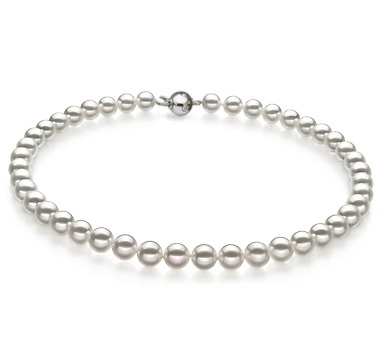 Ожерелье из белого круглого морского Австралийского жемчуга 9-11,6 мм