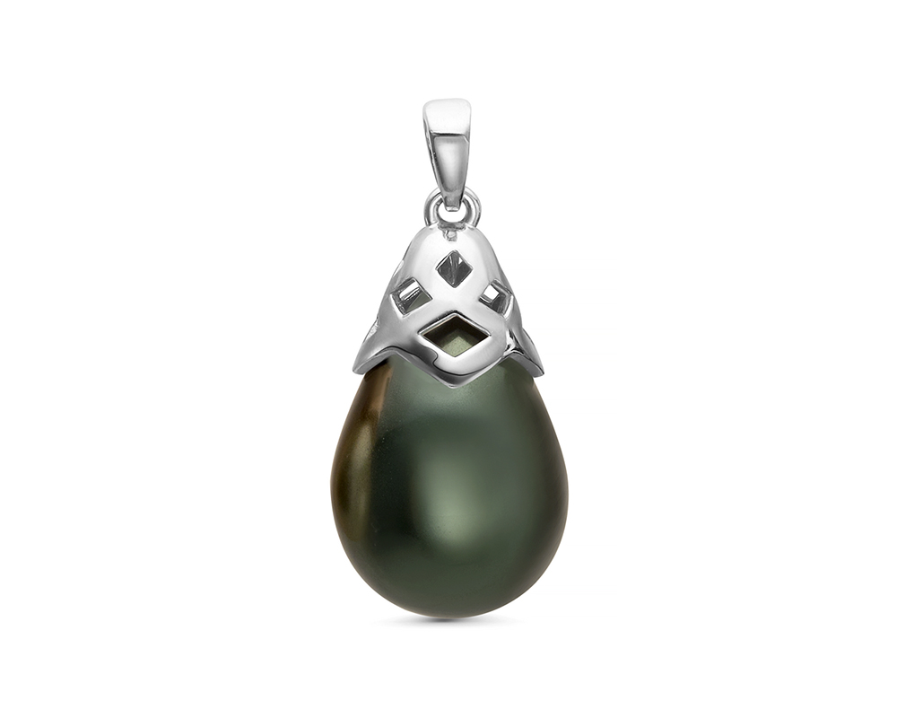 """Кулон из серебра с черной жемчужиной """"Майорика"""" 12,5-15,5 мм"""