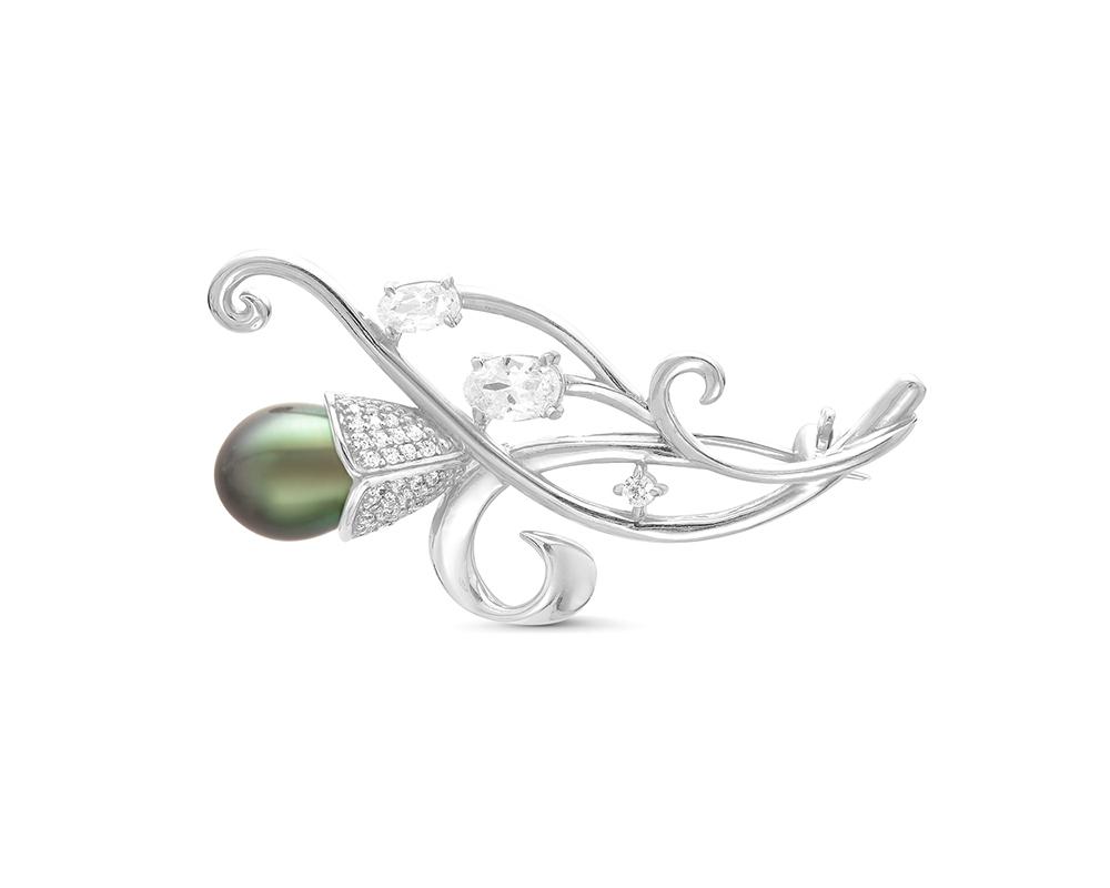 """Брошь из серебра с черной Таитянской жемчужиной """"капля"""" 10-10,5 мм"""