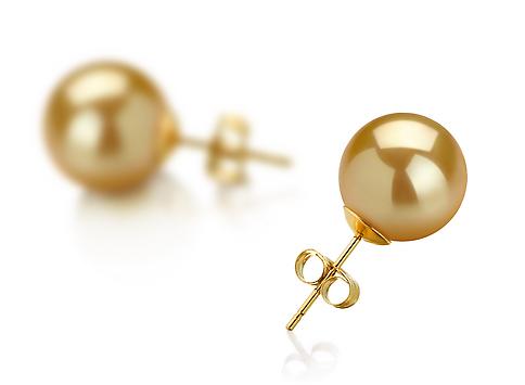 Пусеты на золоте с золотистой жемчужиной Акойя (Япония) 9-9,5 мм