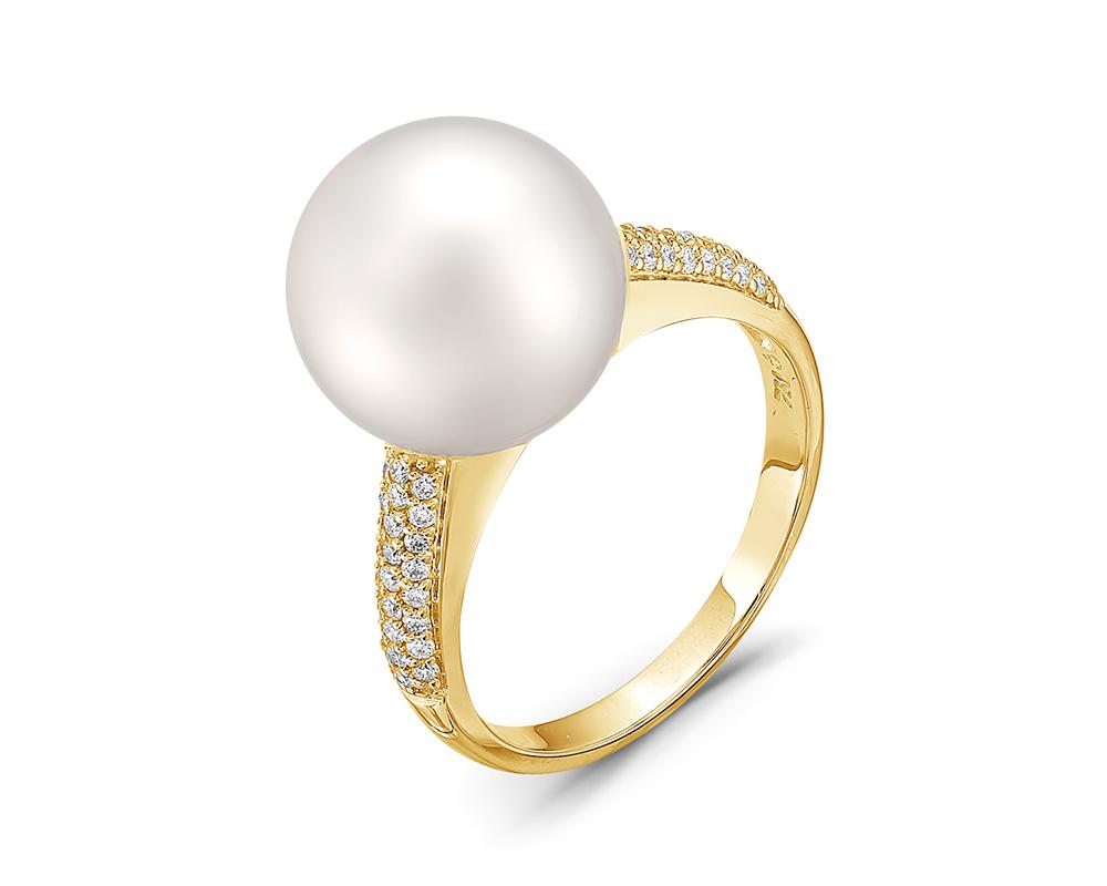 Кольцо из желтого золота с белой морской Австралийской жемчужиной 13-13,5 мм