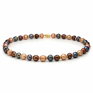 """Ожерелье """"микс"""" из барочного речного жемчуга со стразами. Жемчужины 12-13 мм"""