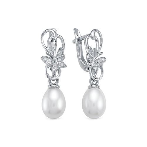"""Серьги """"Бабочки"""" из серебра с белыми речными жемчужинами 7,5-8 мм"""