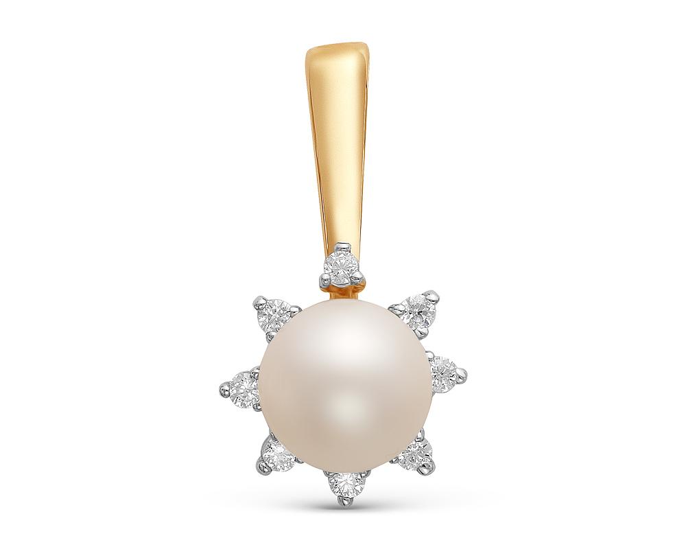 Подвеска из серебра с белой круглой речной жемчужиной 7-7,5 мм