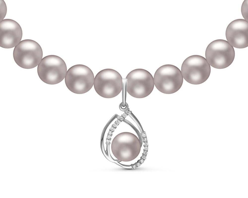 Ожерелье из серебристого круглого речного жемчуга с кулоном из серебра