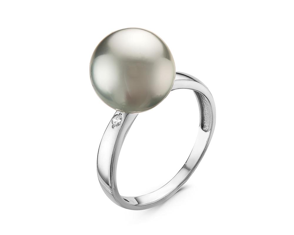 Кольцо из серебра с серебристой морской Таитянской жемчужиной 10,6-10,9 мм