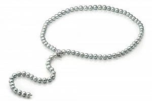 """Ожерелье """"галстук"""" из серого круглого пресноводного жемчуга. Жемчужины 9-10 мм"""