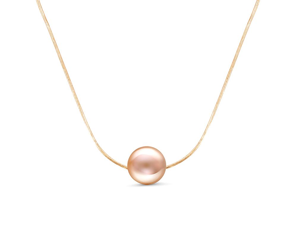 Цепочка из красного золота с розовой морской жемчужиной 8,5-9 мм. Длина 45 см