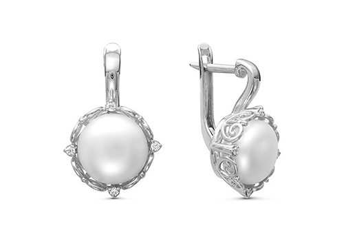 Серьги из серебра c белыми речными жемчужинами 9,5-10 мм