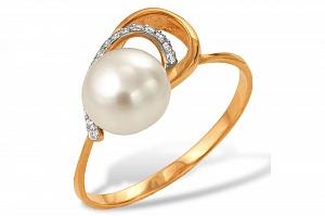 Кольцо из красного золота с белой речной жемчужиной 8-8,5 мм