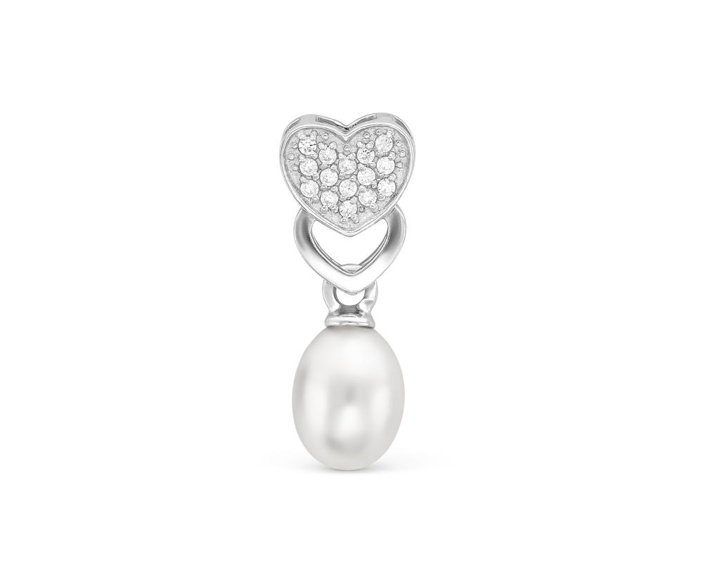 Кулон из серебра с белой каплевидной жемчужиной 6-8,5 мм