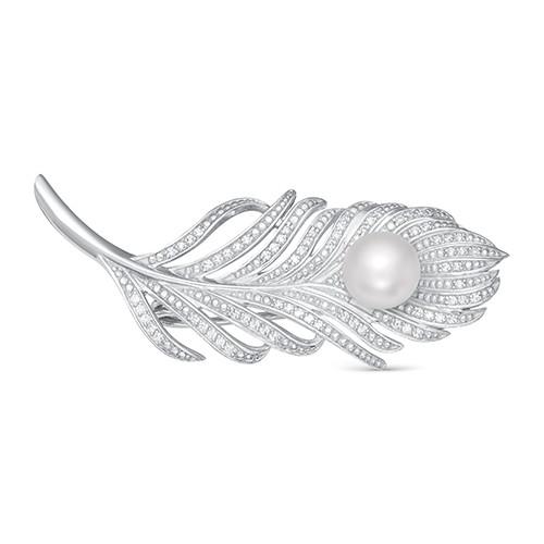 Брошь из серебра с белой пресноводной жемчужиной 8,5-9 мм
