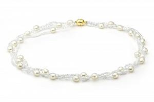 Ожерелье трехрядное из белого рисообразного жемчуга с бисером