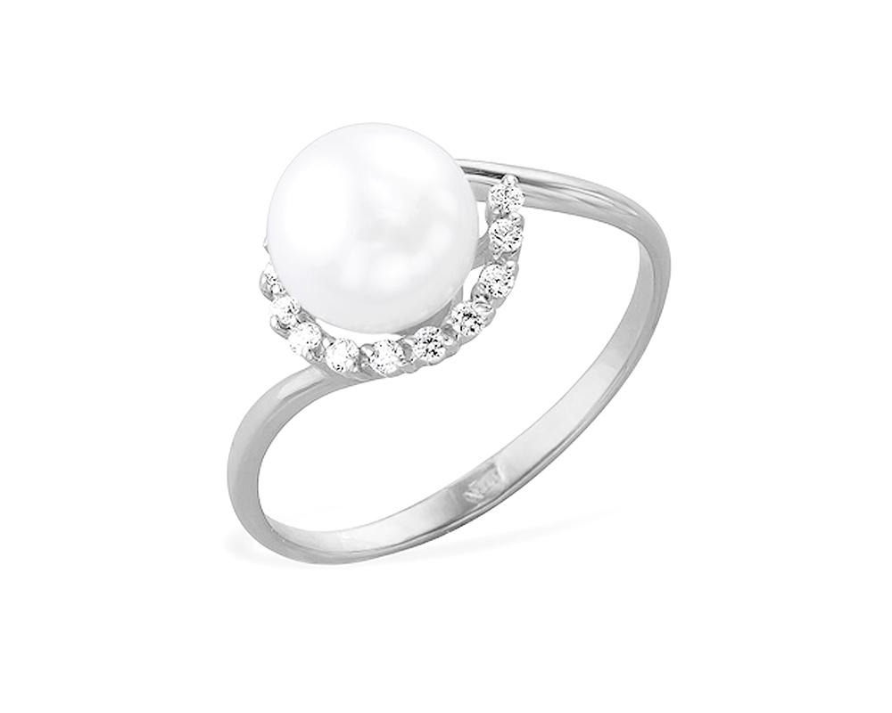 Кольцо из белого золота 585 пробы с белой жемчужиной 6,5-7,5 мм