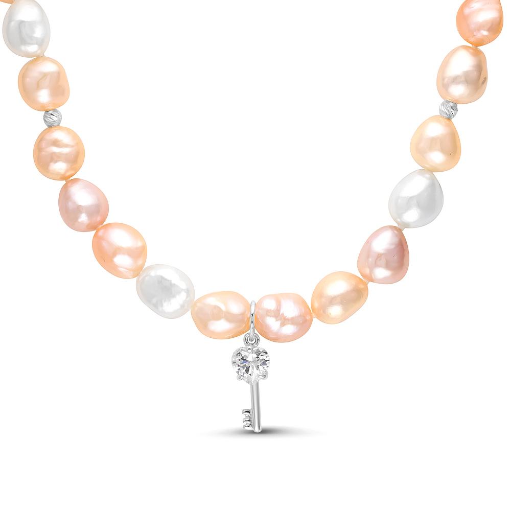 """Детское ожерелье. Розовый жемчуг """"Барокко"""" размером 9-10 мм"""