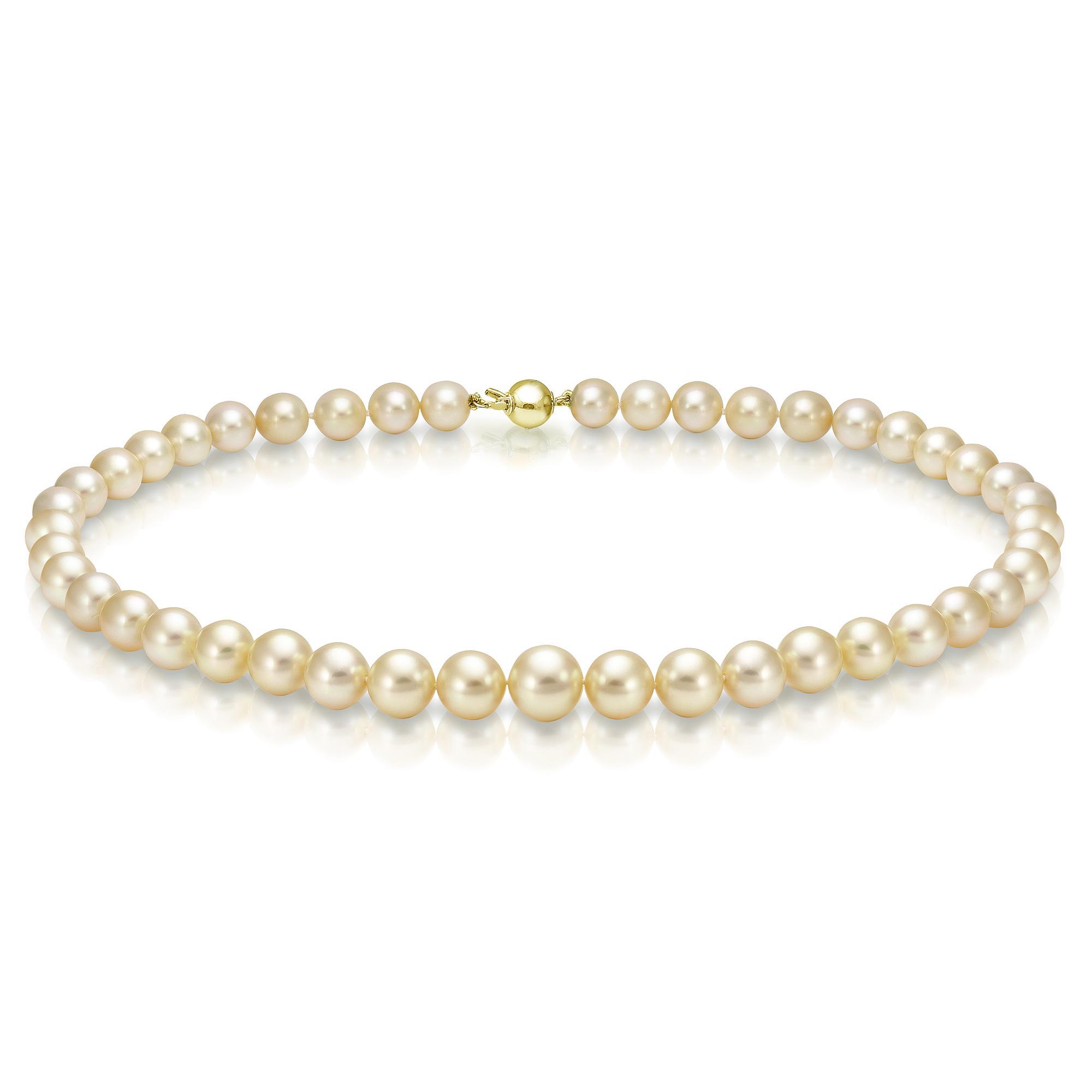Ожерелье из золотого морского Австралийского жемчуга 10-11,6 мм