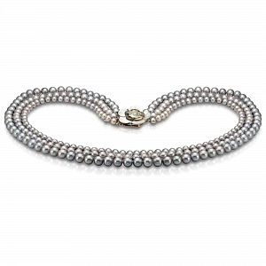Ожерелье 3-рядное из серебристого круглого речного жемчуга
