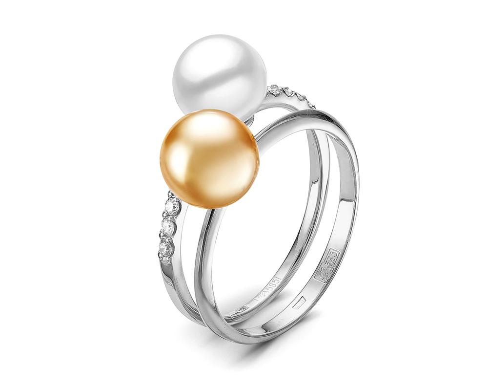 """Кольцо """"Дуэт"""" из белого золота с морскими жемчужинами Акойя. Жемчужины 7,5-8 мм"""