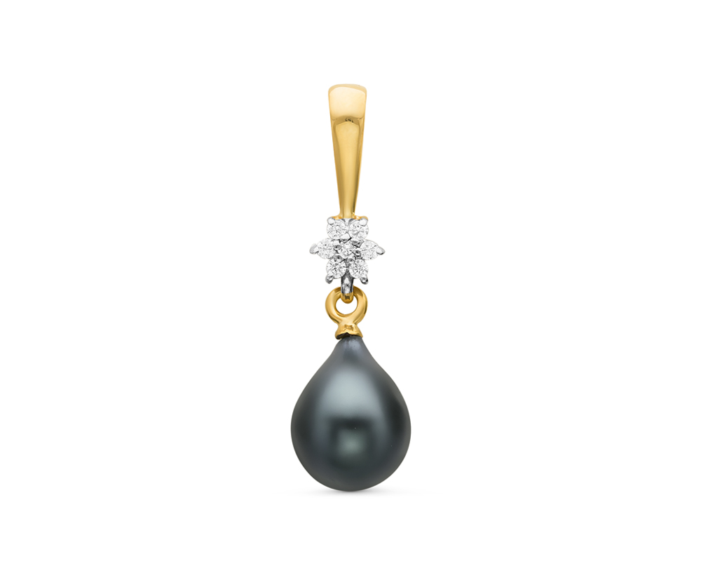 Кулон из серебра с черной каплевидной речной жемчужиной